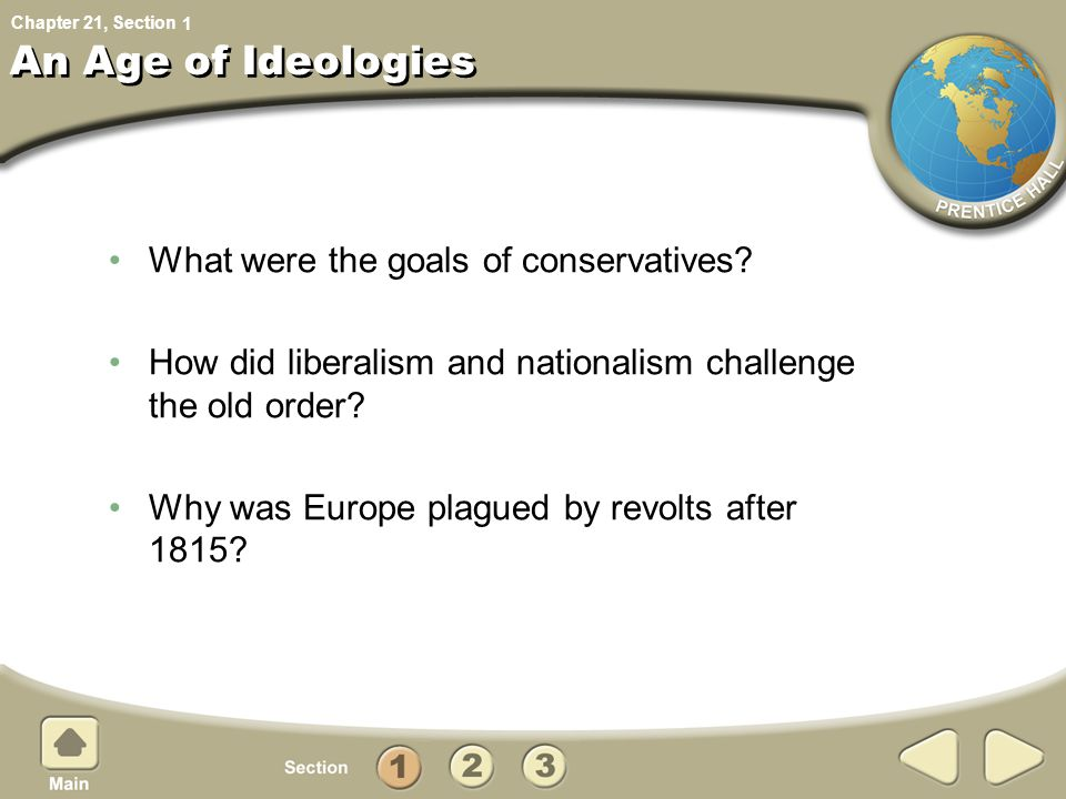 Chapter 21, Section An Age of Ideologies What were the goals of conservatives.