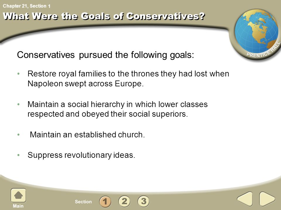 Chapter 21, Section What Were the Goals of Conservatives.