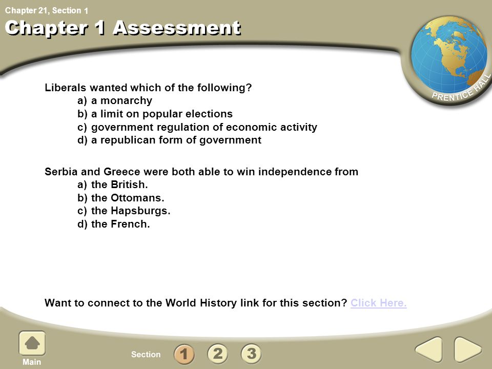 Chapter 21, Section Chapter 1 Assessment Liberals wanted which of the following.