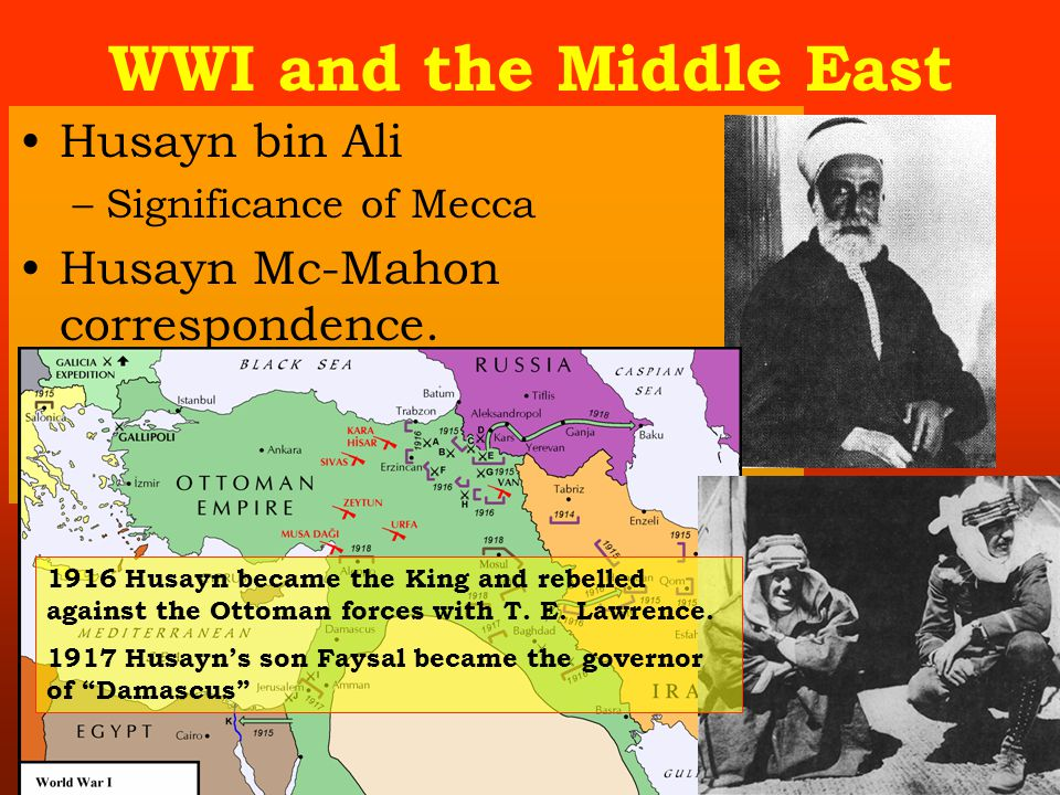 WWI and the Middle East Husayn bin Ali –Significance of Mecca Husayn Mc-Mahon correspondence.