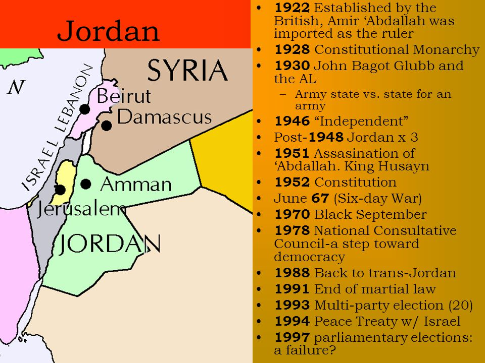 1922 Established by the British, Amir 'Abdallah was imported as the ruler 1928 Constitutional Monarchy 1930 John Bagot Glubb and the AL –Army state vs.