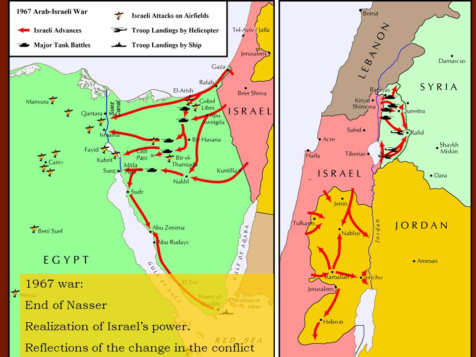 1967 war: End of Nasser Realization of Israel's power. Reflections of the change in the conflict