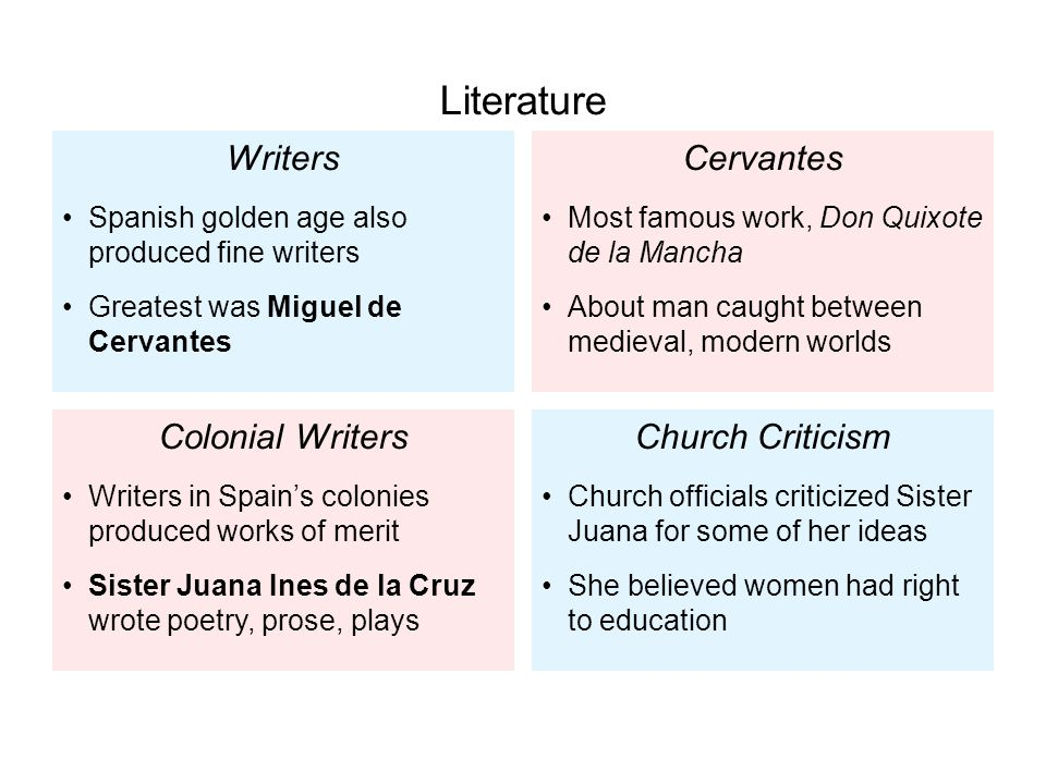 Writers Spanish golden age also produced fine writers Greatest was Miguel de Cervantes Colonial Writers Writers in Spain's colonies produced works of