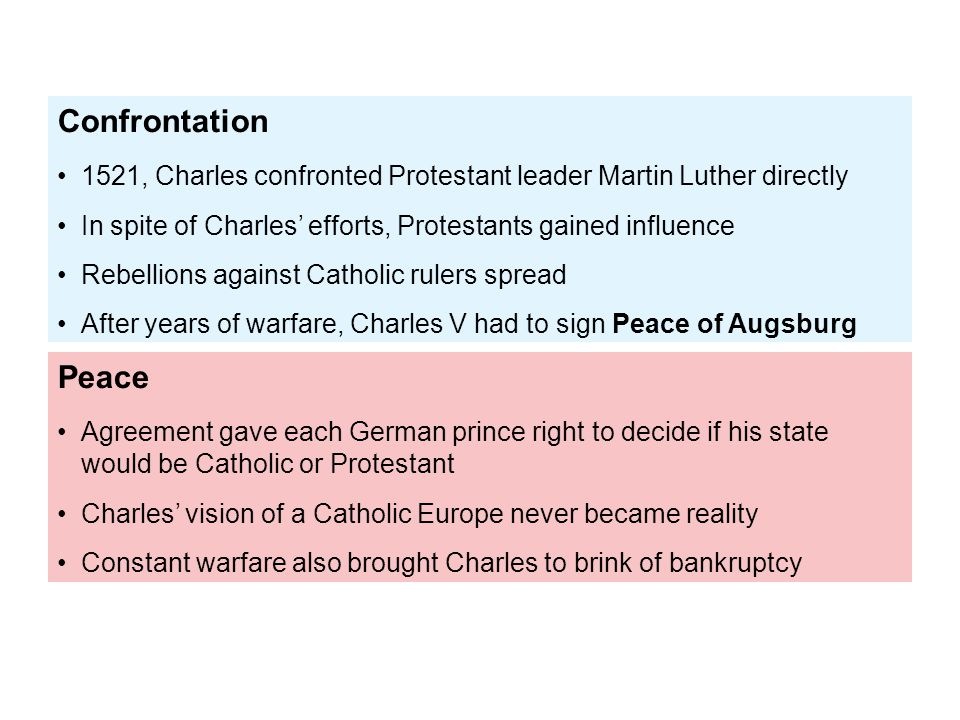 Peace Agreement gave each German prince right to decide if his state would be Catholic or Protestant Charles' vision of a Catholic Europe never became