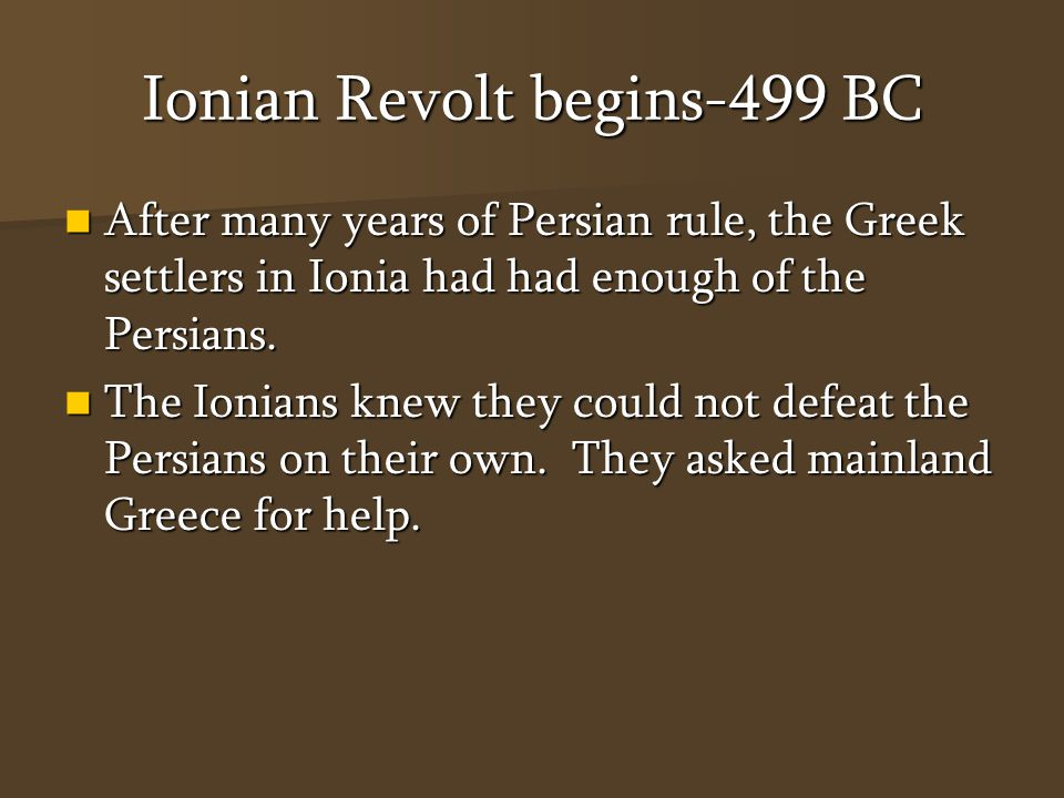 Athens to the rescue Athens sent soldiers and a small fleet of ships to Ionia.