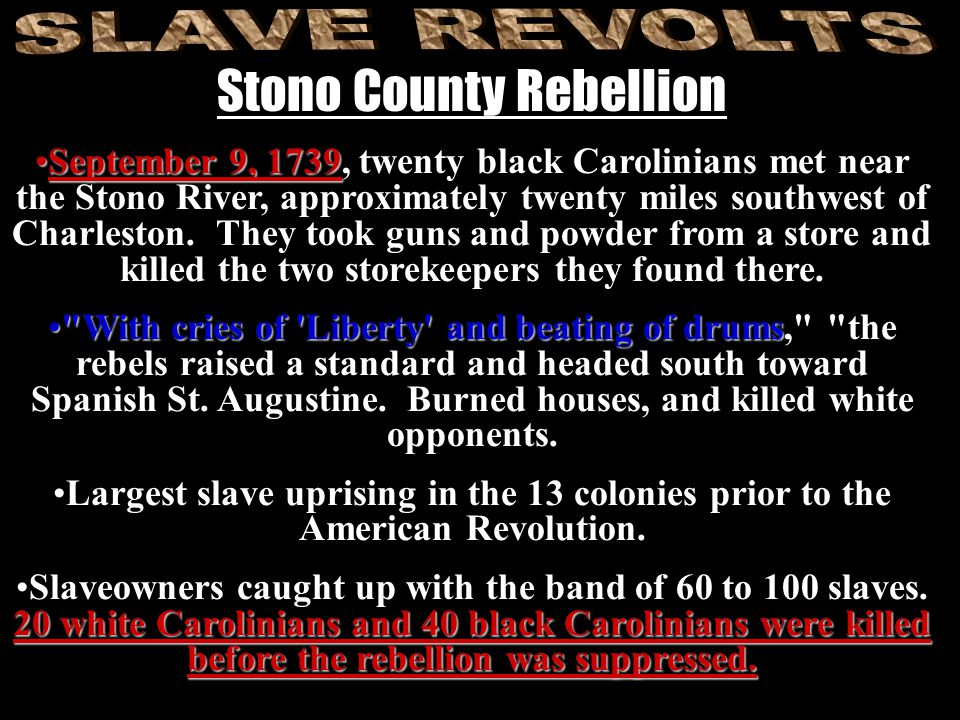September 9, 1739September 9, 1739, twenty black Carolinians met near the Stono River, approximately twenty miles southwest of Charleston.