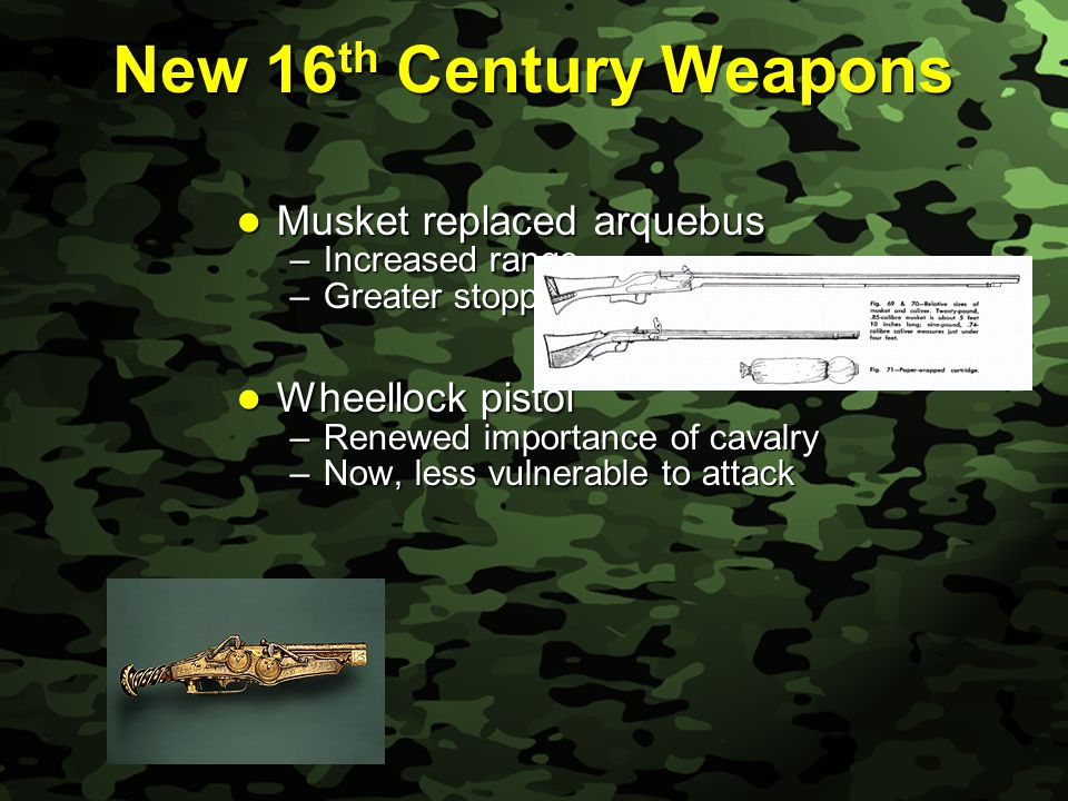 Slide 20 New 16 th Century Weapons Musket replaced arquebus Musket replaced arquebus –Increased range –Greater stopping power Wheellock pistol Wheellock pistol –Renewed importance of cavalry –Now, less vulnerable to attack