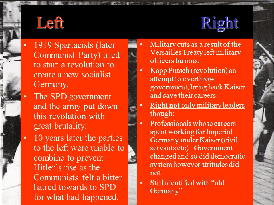 LeftRight 1919 Spartacists (later Communist Party) tried to start a revolution to create a new socialist Germany.
