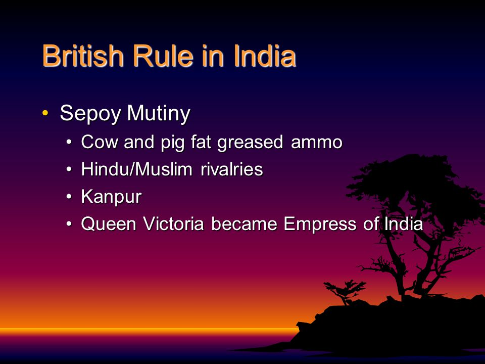 British Rule in India Sepoy MutinySepoy Mutiny Cow and pig fat greased ammoCow and pig fat greased ammo Hindu/Muslim rivalriesHindu/Muslim rivalries KanpurKanpur Queen Victoria became Empress of IndiaQueen Victoria became Empress of India