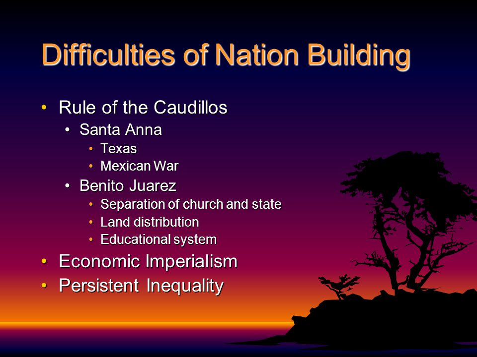 Difficulties of Nation Building Rule of the CaudillosRule of the Caudillos Santa AnnaSanta Anna TexasTexas Mexican WarMexican War Benito JuarezBenito Juarez Separation of church and stateSeparation of church and state Land distributionLand distribution Educational systemEducational system Economic ImperialismEconomic Imperialism Persistent InequalityPersistent Inequality