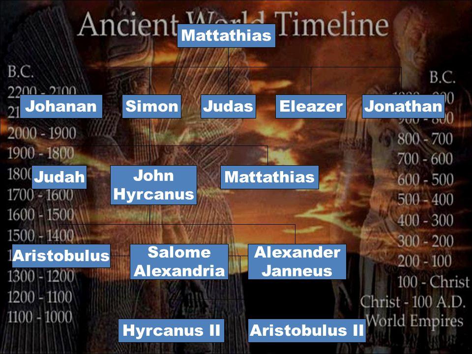 Mattathias JohananJudasSimonEleazerJonathan John Hyrcanus JudahMattathias Salome Alexandria Aristobulus Alexander Janneus Aristobulus IIHyrcanus II