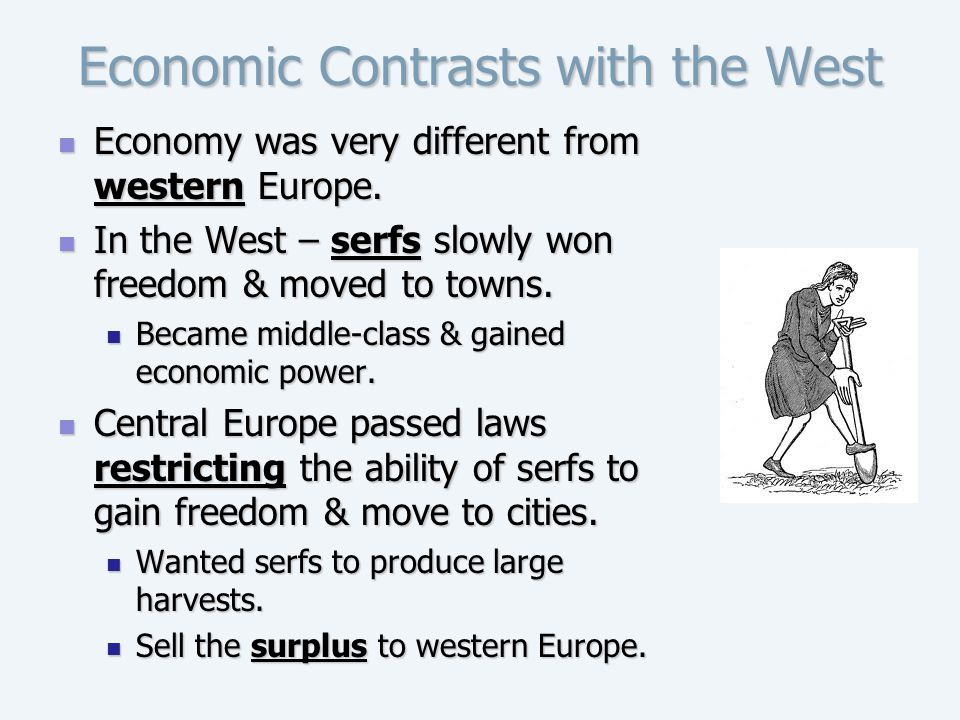 Economic Contrasts with the West Economy was very different from western Europe. Economy was very different from western Europe. In the West – serfs s