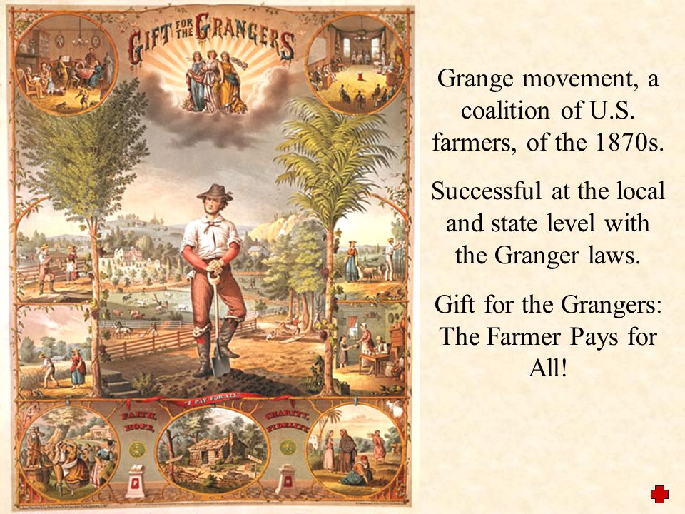 The Grange Movement  First organized in the 1870s in the Midwest, the south, and Texas.