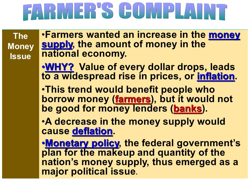 Tariffs helped farmers by protecting them against competition from farm imports.