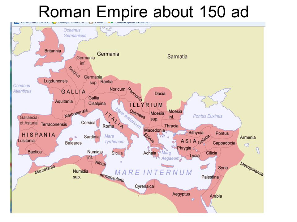753 BC: Roma (Rome) is founded by Romulus 312 BC: the first aqueduct, the Aqua Appia, is built 308 BC: Roma conquers the Etruscan city of Tarquinia 295 BC: Roma defeats the Gauls/Celts in northern Italy 280 BC: Roma issues coins 275 BC: Roma conquers southern Italy (Greek colonies) 272 BC: a second aqueduct, the Anio Vetus, is built 264 BC: Roma and Carthage fight the first Punic war 264 BC: the Romans destroy the last vestiges of the Etruscan civilization (Volsinies) 218 BC: Hannibal invades Italy and the Gauls of northern Italy ally with him 202 BC: Scipio defeats Hannibal and Roma annexes Spain 196 BC: the Romans defeat the Macedonian king Philip V at Cynoscephalae 175 BC: the Celts of Spain are subjugated 149 BC: Roma destroys Carthage 149 BC: Roma conquers Greece after winning the battle of Corinth (and destroying Corinth