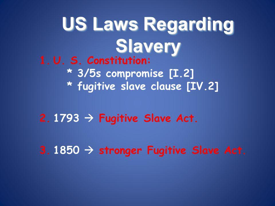 US Laws Regarding Slavery 1.U. S. Constitution: * 3/5s compromise [I.2] * fugitive slave clause [IV.2] 2.1793  Fugitive Slave Act. 3.1850  stronger