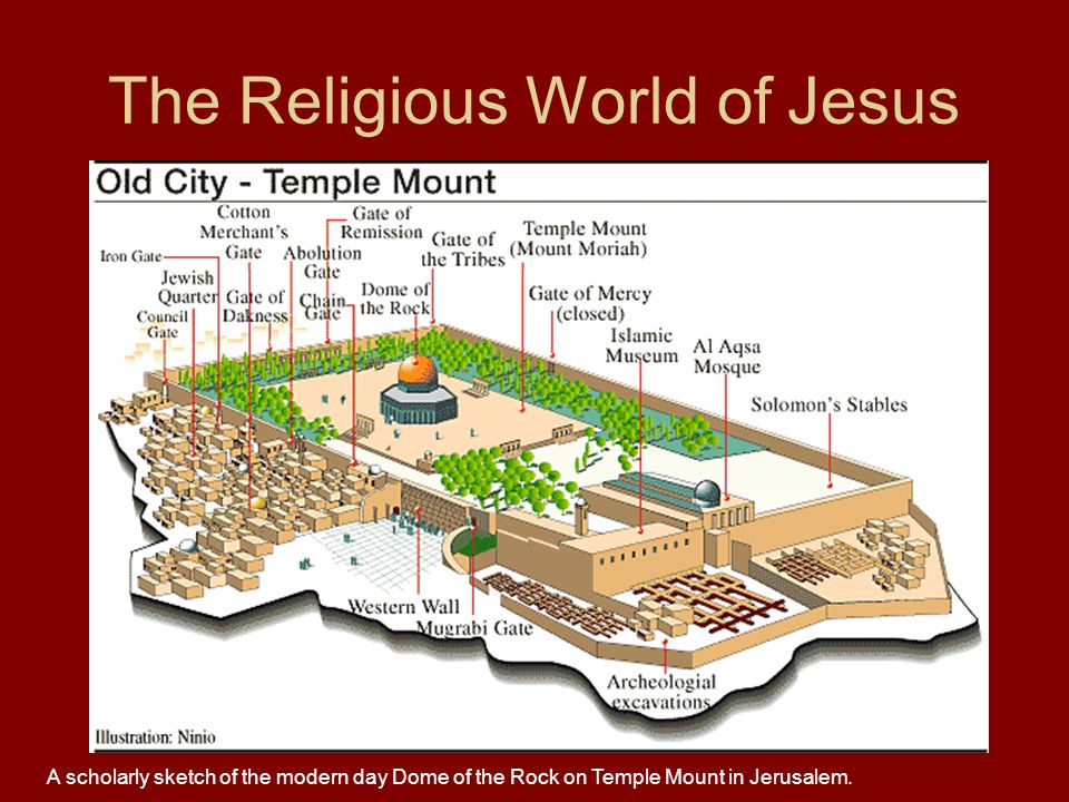 The Religious World of Jesus A scholarly sketch of the modern day Dome of the Rock on Temple Mount in Jerusalem.