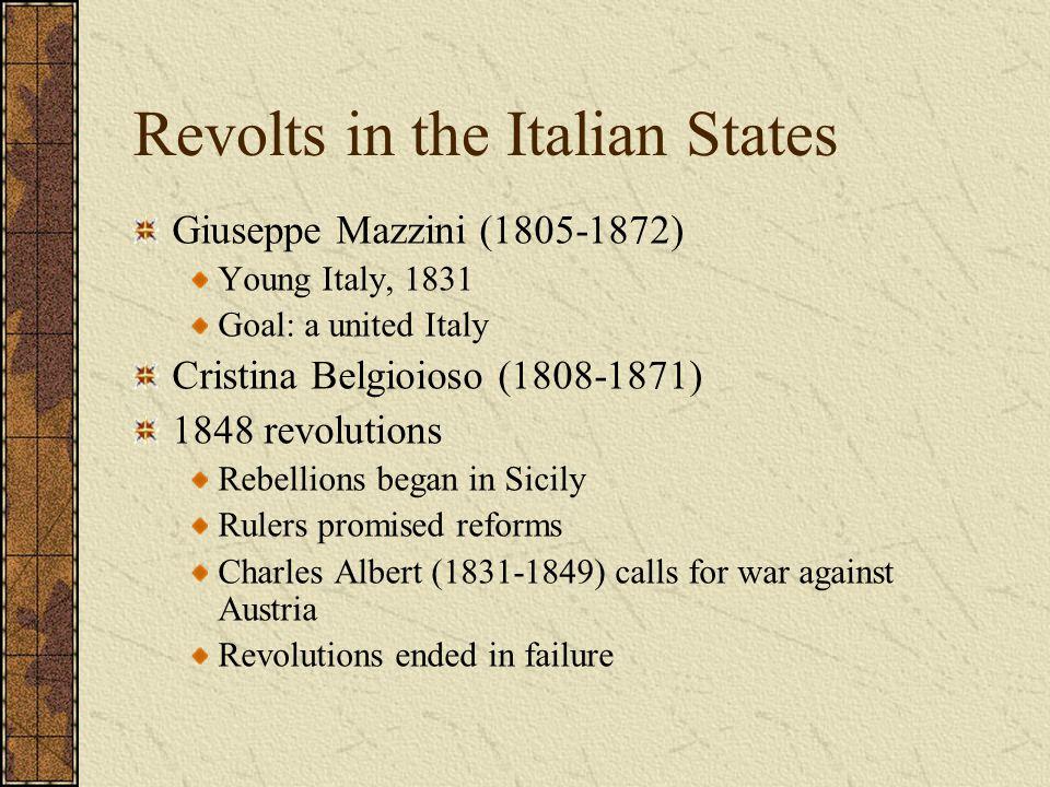 Revolts in the Italian States Giuseppe Mazzini (1805-1872) Young Italy, 1831 Goal: a united Italy Cristina Belgioioso (1808-1871) 1848 revolutions Reb