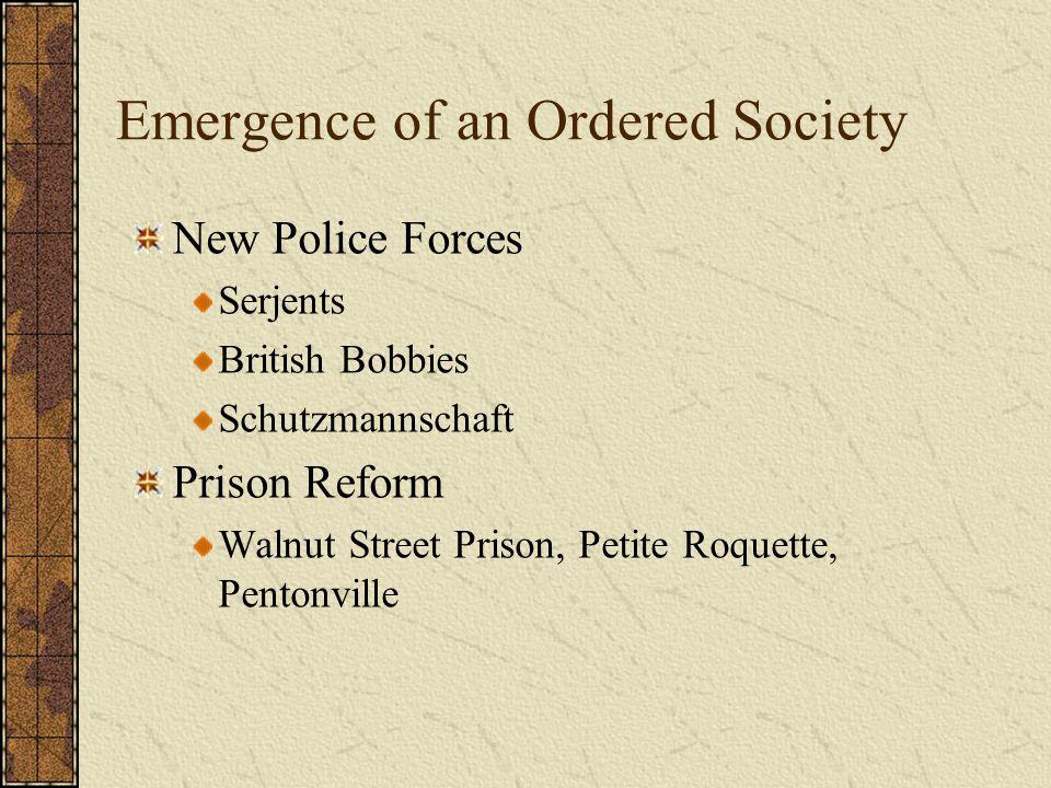 Emergence of an Ordered Society New Police Forces Serjents British Bobbies Schutzmannschaft Prison Reform Walnut Street Prison, Petite Roquette, Pento