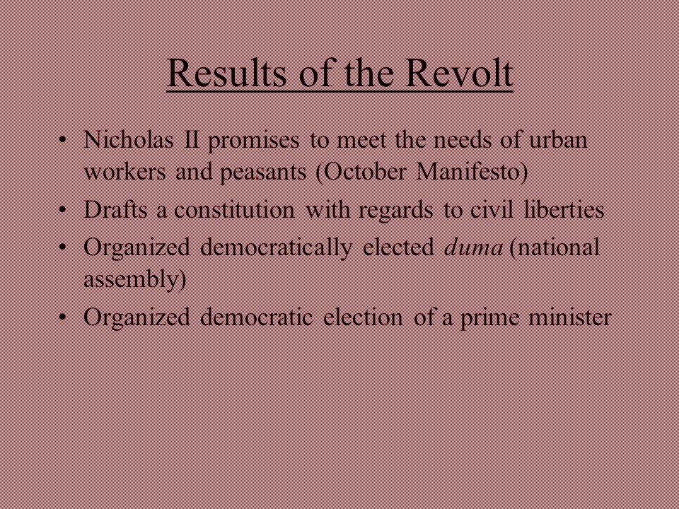 Results of the Revolt Nicholas II promises to meet the needs of urban workers and peasants (October Manifesto) Drafts a constitution with regards to c