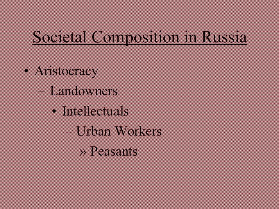 Societal Composition in Russia Aristocracy – Landowners Intellectuals – Urban Workers » Peasants