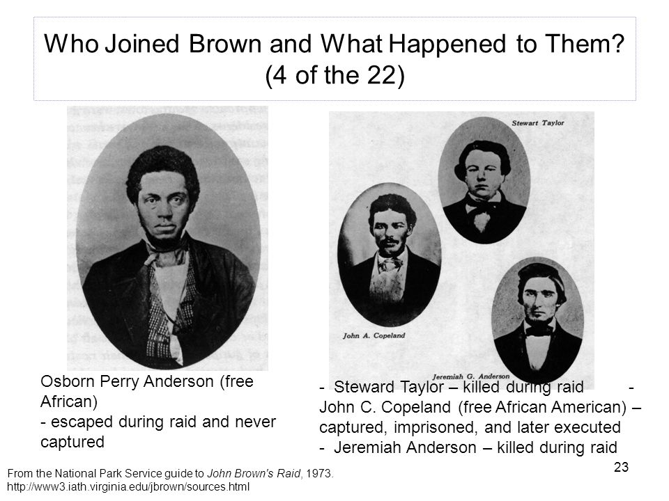 23 Who Joined Brown and What Happened to Them.