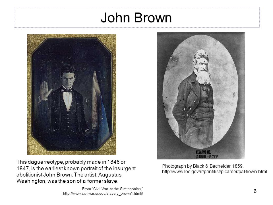 6 John Brown Photograph by Black & Bachelder, 1859.