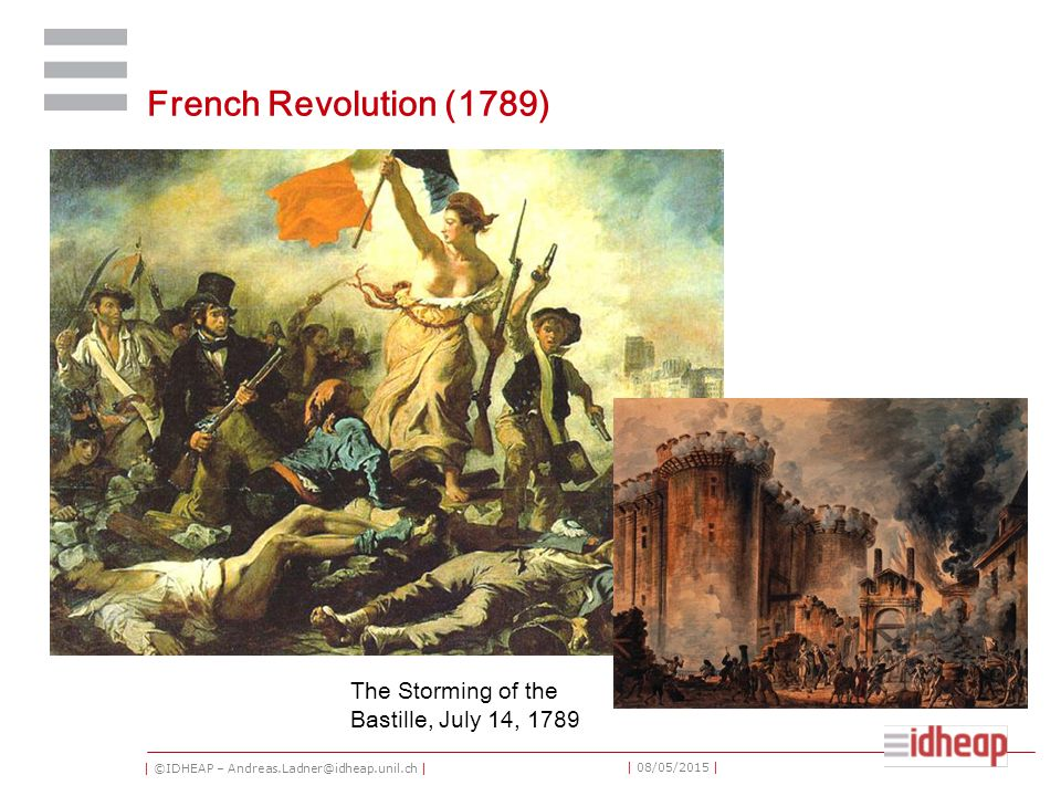 | ©IDHEAP – Andreas.Ladner@idheap.unil.ch | | 08/05/2015 | French Revolution (1789) The Storming of the Bastille, July 14, 1789