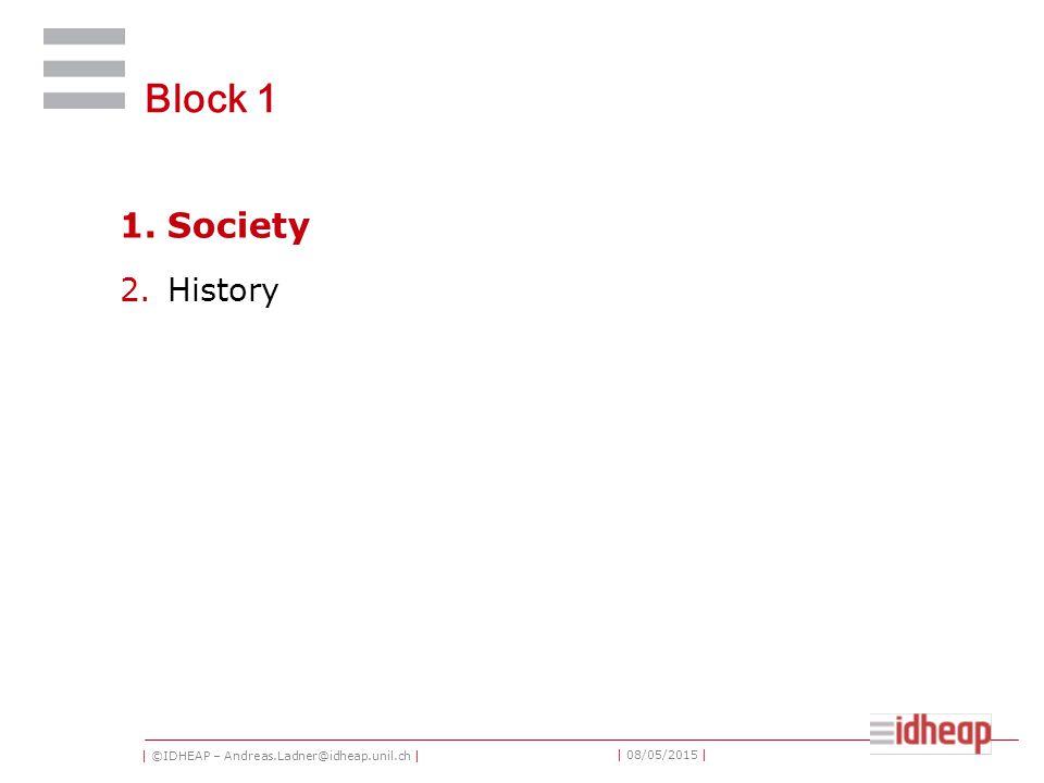 | ©IDHEAP – Andreas.Ladner@idheap.unil.ch | | 08/05/2015 | Block 1 1.Society 2.History