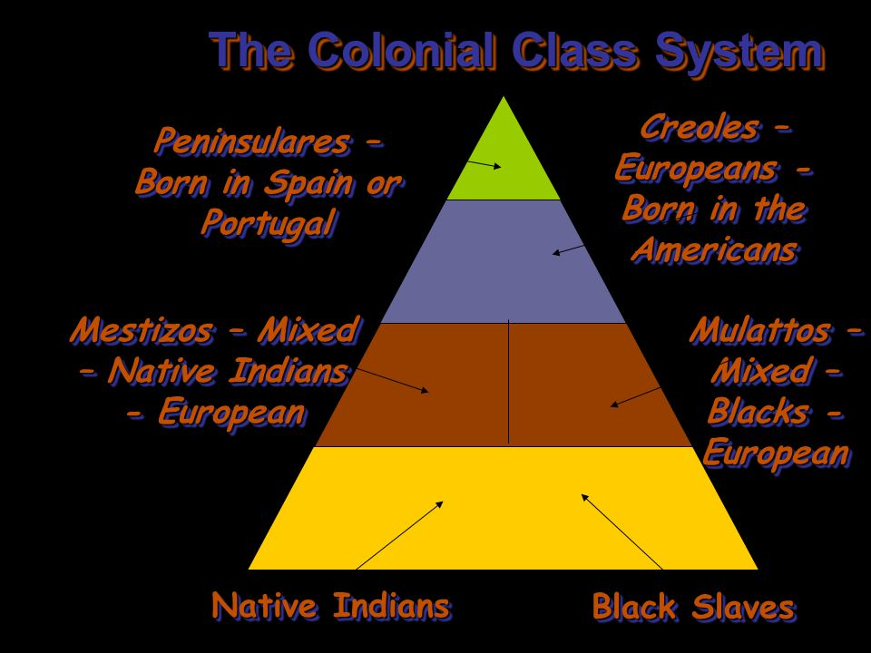 The Colonial Class System Peninsulares – Born in Spain or Portugal Creoles – Europeans - Born in the Americans Mestizos – Mixed – Native Indians - Eur