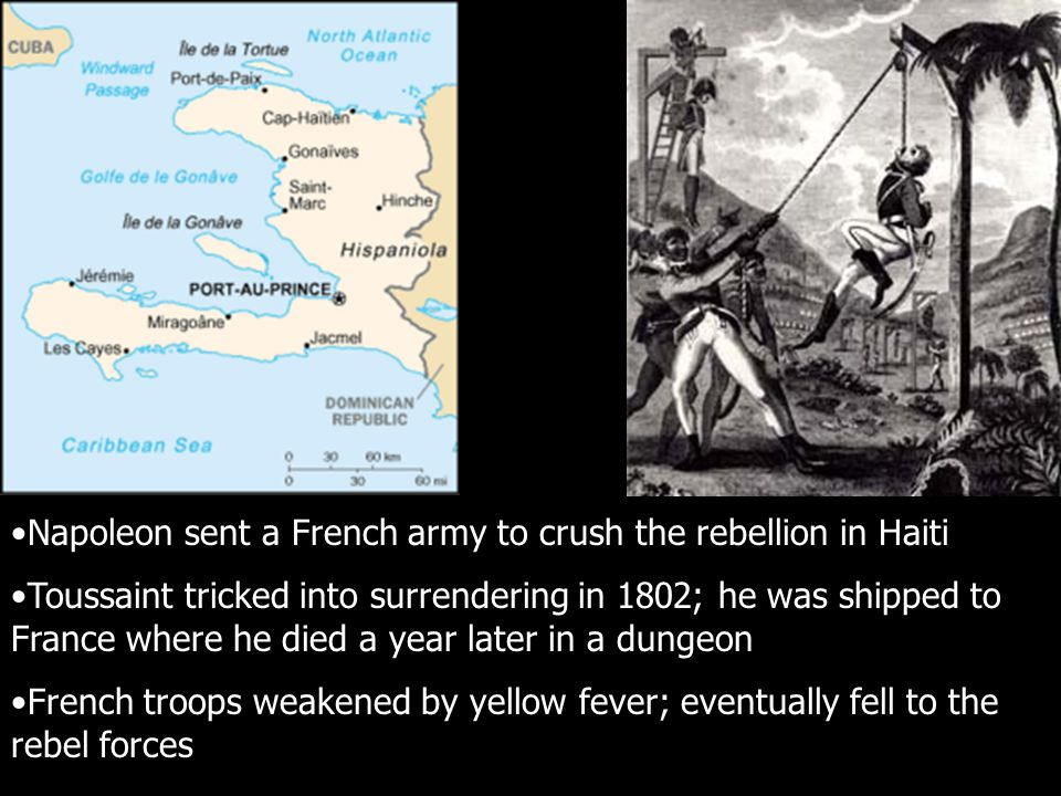 Napoleon sent a French army to crush the rebellion in Haiti Toussaint tricked into surrendering in 1802; he was shipped to France where he died a year