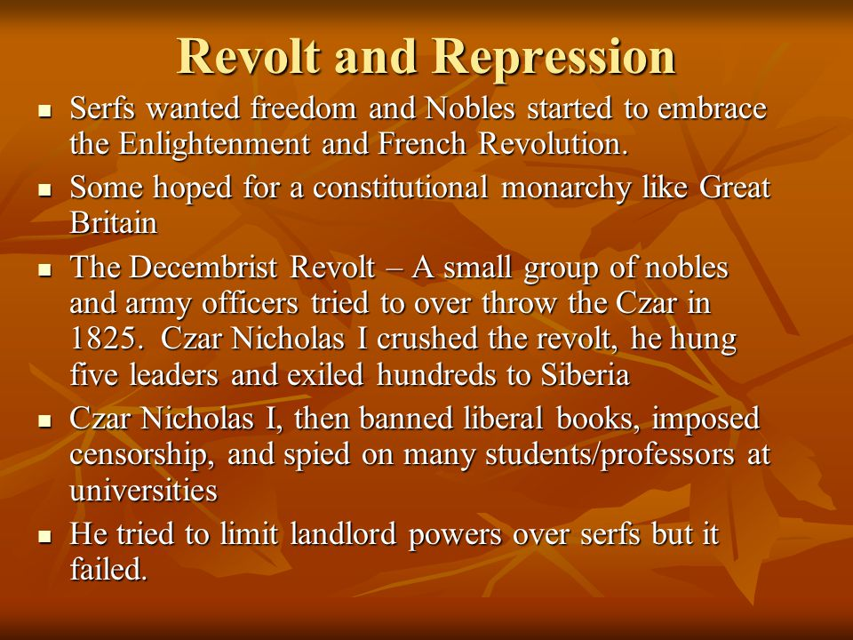 Revolution of 1905 Riots broke out and the Czar formed a Duma, which is an elected assembly Riots broke out and the Czar formed a Duma, which is an elected assembly Despite these reforms the Czar was still an autocratic ruler Despite these reforms the Czar was still an autocratic ruler Inequality remained and so did repression Inequality remained and so did repression Peasants, national minorities, middle-class liberals, and factory workers were still disgruntled Peasants, national minorities, middle-class liberals, and factory workers were still disgruntled