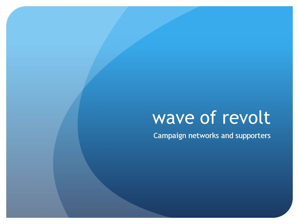 wave of revolt Campaign networks and supporters