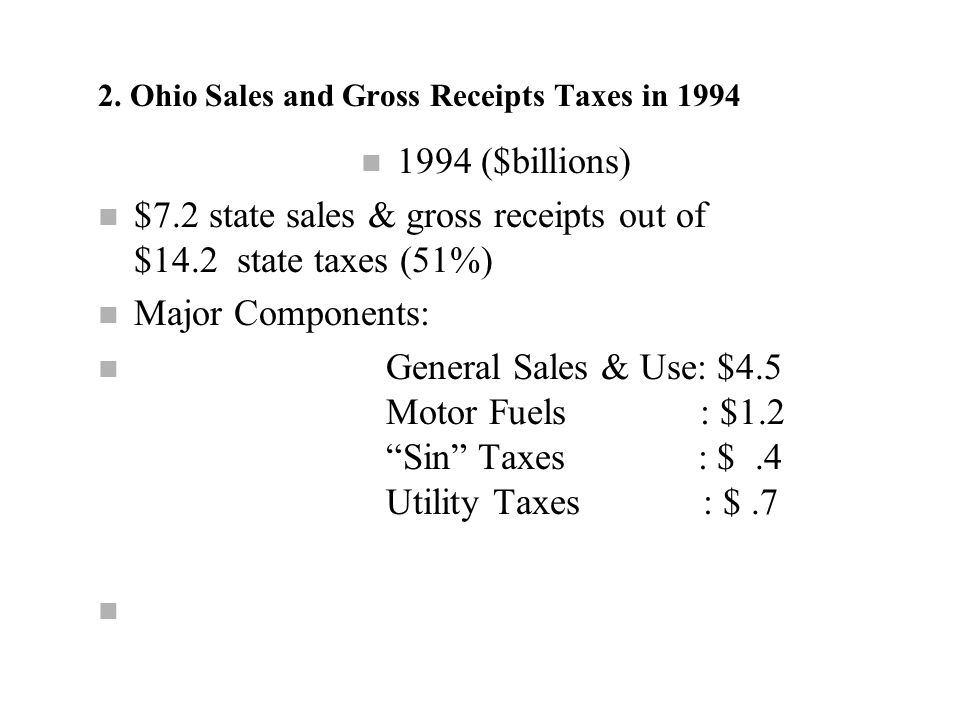 7 Ohio Sales and Excise Taxes in 1996 n Sales and Use Tax 21.2% of combined state and local taxes in Ohio n Selective Excise Taxes 9.6% of combined state and local taxes in Ohio n Transaction Taxes 31.6% of combined state and local taxes in Ohio