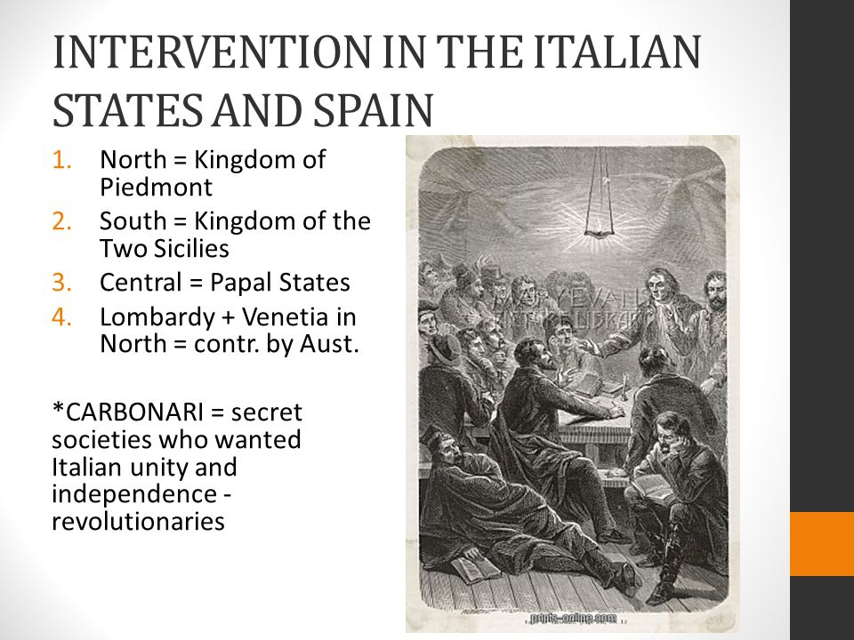 INTERVENTION IN THE ITALIAN STATES AND SPAIN 1.North = Kingdom of Piedmont 2.South = Kingdom of the Two Sicilies 3.Central = Papal States 4.Lombardy + Venetia in North = contr.