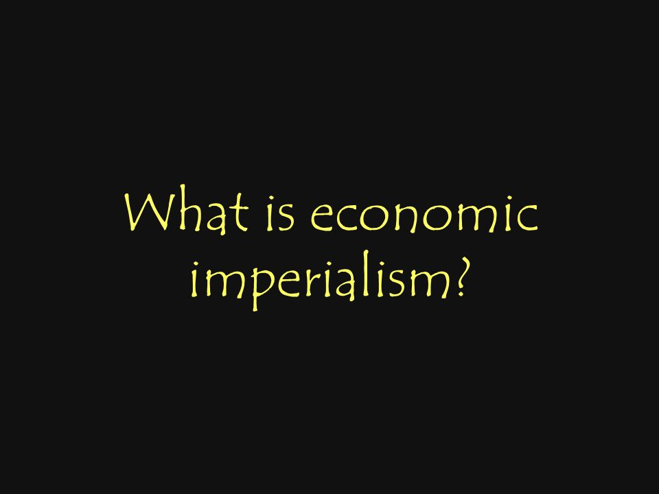 What is economic imperialism