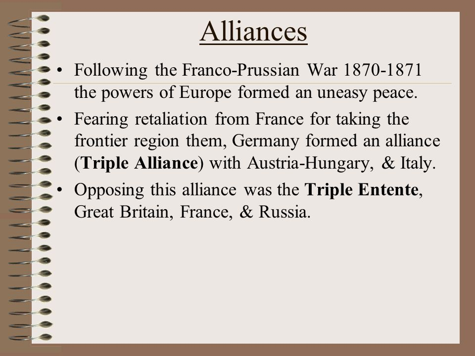 The Causes of WWII When WWI ended the allies (France & Britain) imposed a harsh peace on the former central powers (Germany, Italy, & Austria Hungary) They blamed Germany & Austria-Hungary for the war and wanted them to pay for it.