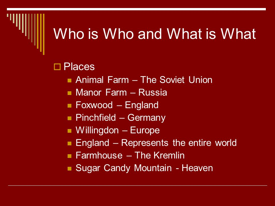 Who is Who and What is What  Places Animal Farm – The Soviet Union Manor Farm – Russia Foxwood – England Pinchfield – Germany Willingdon – Europe England – Represents the entire world Farmhouse – The Kremlin Sugar Candy Mountain - Heaven