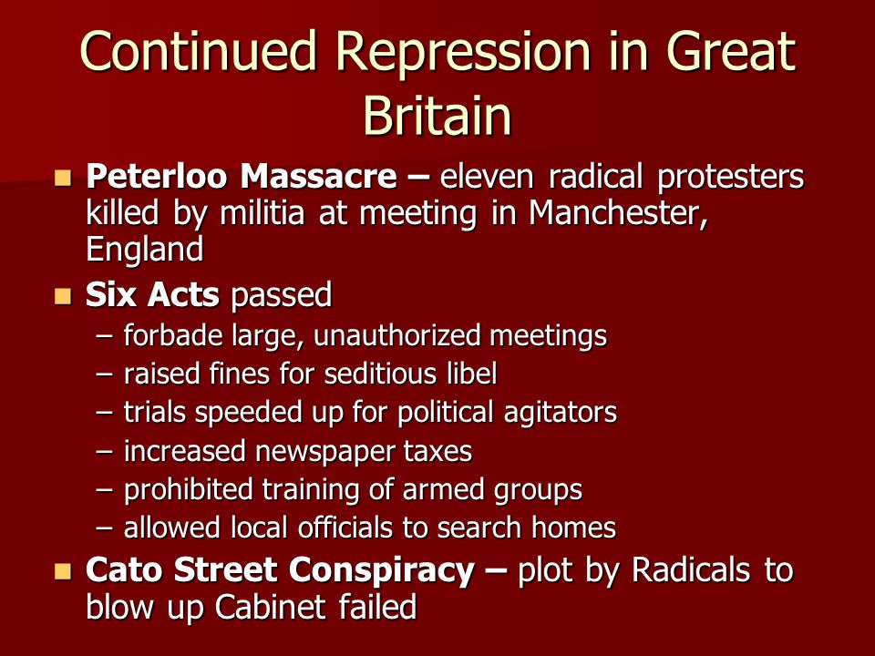 Continued Repression in Great Britain Peterloo Massacre – eleven radical protesters killed by militia at meeting in Manchester, England Peterloo Massa
