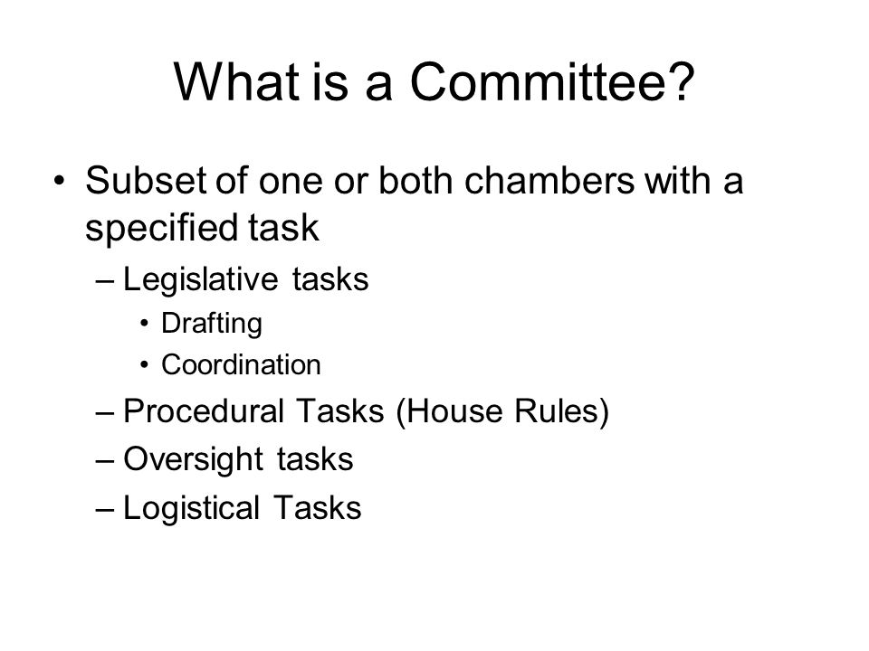 Tangent: Resolving Disagreement Conference committees are not Constitutionally prescribed Without conference, chambers can send a bill back and forth, usually no more than 2 times (but this is simply a norm) Usually done when disagreement is technical in nature