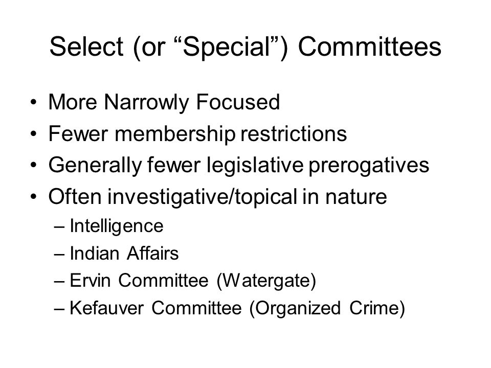 Joint Committees Inter-Chamber committees –Economic - informational –Taxation - informational –Library – coordination (runs Library of Congress) –Printing (runs GPO) –Atomic Energy (1947-1979) -- legislative