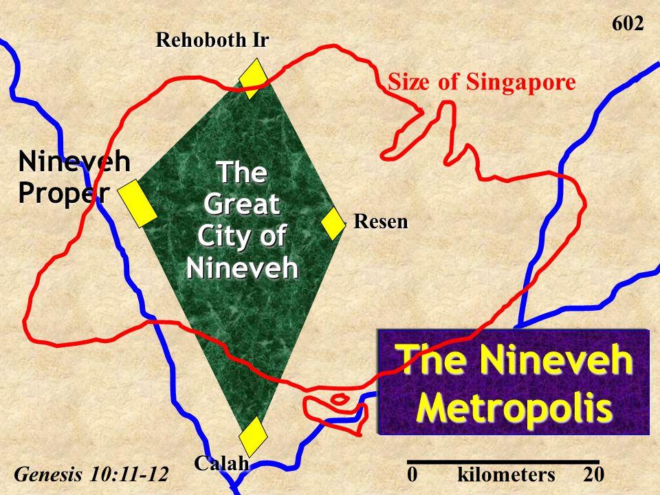 Resen Rehoboth Ir Nineveh Proper Calah The Nineveh Metropolis Genesis 10:11-12 602 Size of Singapore 020kilometers The Great City of Nineveh