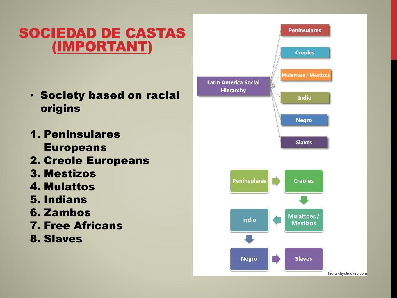 SOCIEDAD DE CASTAS (IMPORTANT) Society based on racial origins 1.Peninsulares Europeans 2.Creole Europeans 3.Mestizos 4.Mulattos 5.Indians 6.Zambos 7.