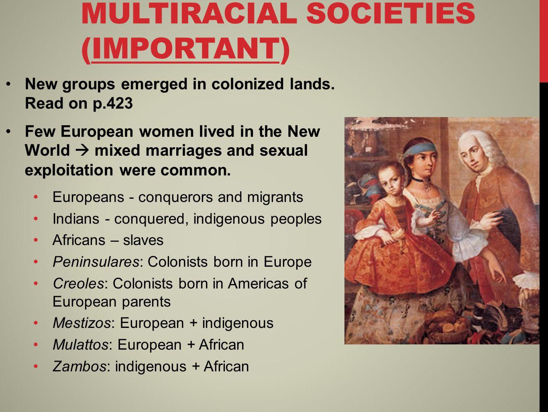 SOCIEDAD DE CASTAS (IMPORTANT) Society based on racial origins 1.Peninsulares Europeans 2.Creole Europeans 3.Mestizos 4.Mulattos 5.Indians 6.Zambos 7.Free Africans 8.Slaves