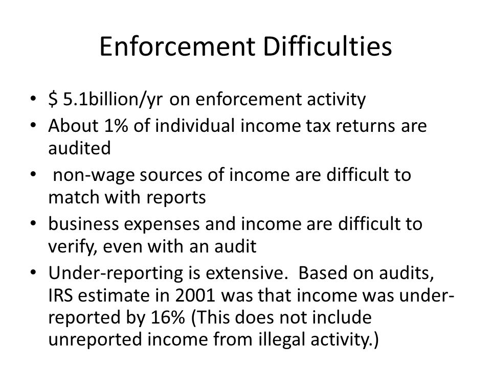 Enforcement Difficulties $ 5.1billion/yr on enforcement activity About 1% of individual income tax returns are audited non-wage sources of income are difficult to match with reports business expenses and income are difficult to verify, even with an audit Under-reporting is extensive.
