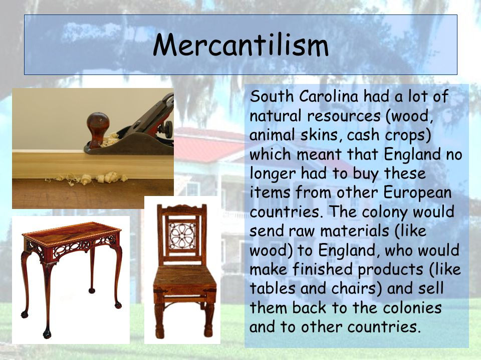 Mercantilism South Carolina had a lot of natural resources (wood, animal skins, cash crops) which meant that England no longer had to buy these items