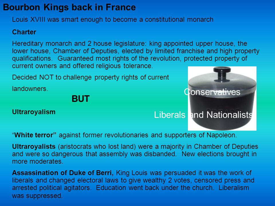 Bourbon Kings back in France Louis XVIII was smart enough to become a constitutional monarch Charter Hereditary monarch and 2 house legislature: king appointed upper house, the lower house, Chamber of Deputies, elected by limited franchise and high property qualifications.