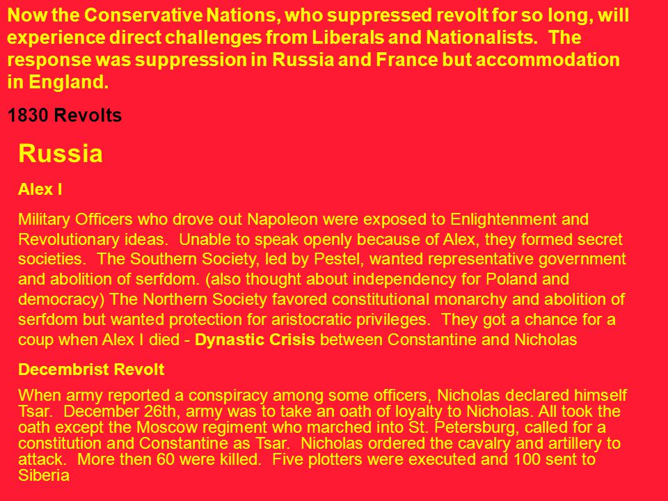 Now the Conservative Nations, who suppressed revolt for so long, will experience direct challenges from Liberals and Nationalists.