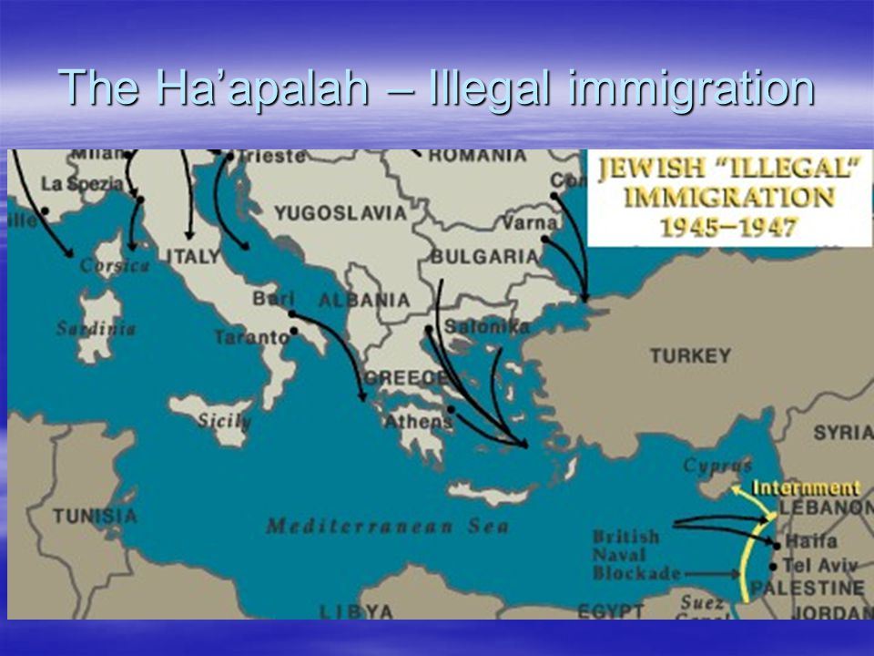 The Ha'apalah – Illegal immigration  The Bricha organization smuggled Jews who wanted to immigrate to Mediterranean ports in Europe.