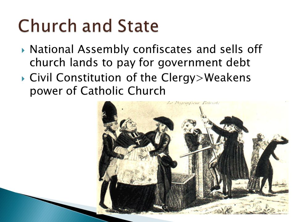  National Assembly confiscates and sells off church lands to pay for government debt  Civil Constitution of the Clergy>Weakens power of Catholic Chu